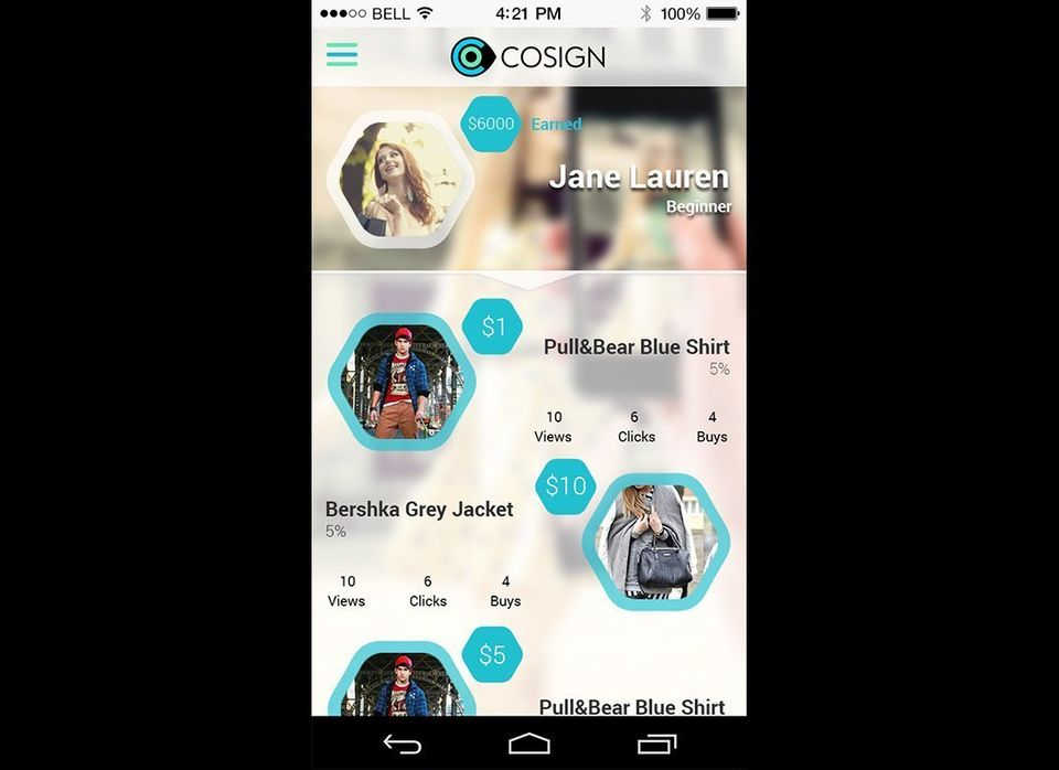 A look at Cosign's home page fore users. The detailed page informs users of how many views, clicks and buys have been made fr