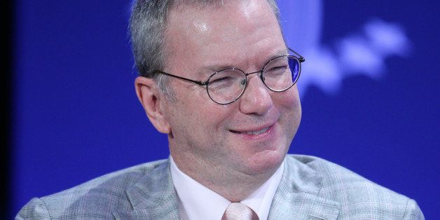 Eric Schmidt, chairman of Google Inc., smiles during the annual meeting of the Clinton Global Initiative (CGI) in New York, U