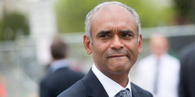 Chet Kanojia, chief executive officer of Aereo Inc., leaves the U.S. Supreme Court following oral arguments by Aereo Inc. and