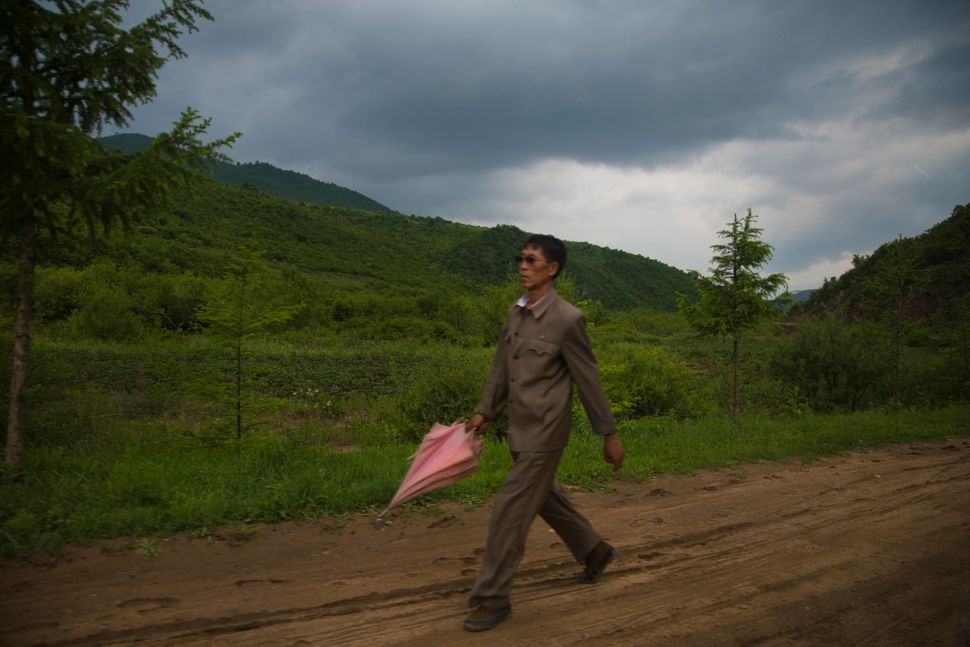 In this Monday, June 16, 2014 photo, walks with a pink umbrella along the roadside south of Samsu, North Korea in Ryanggang p