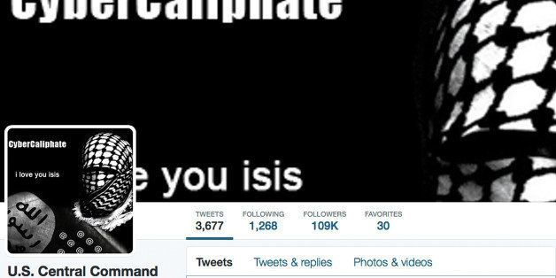 This screen grab made Monday, Jan. 12, 2015 show the front page of the U.S. Central Command twitter account after is was hack