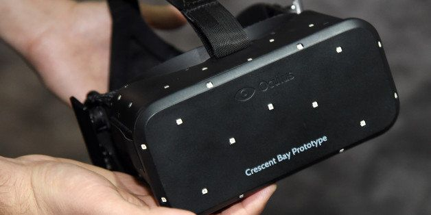 LAS VEGAS, NV - JANUARY 08:  The Oculus VR Crescent Bay Headset prototype is displayed at the 2015 International CES at the L