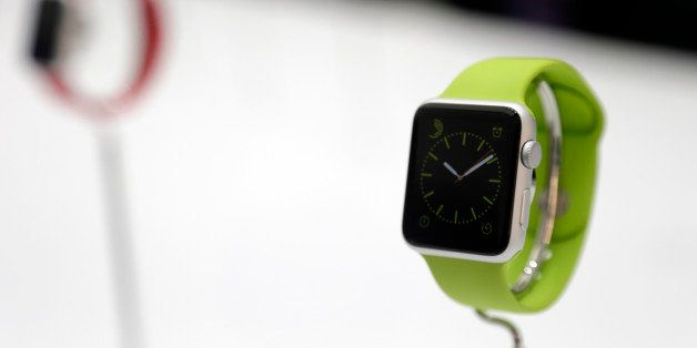 The Apple Watch is displayed on Tuesday, Sept. 9, 2014, in Cupertino, Calif. (AP Photo/Marcio Jose Sanchez)