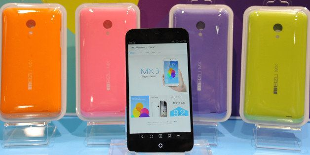 The MX3 Meizu smartphone from Chinese company Future Technology Enterprise Ltd is displayed at  'CES: Unveiled,' the media pr