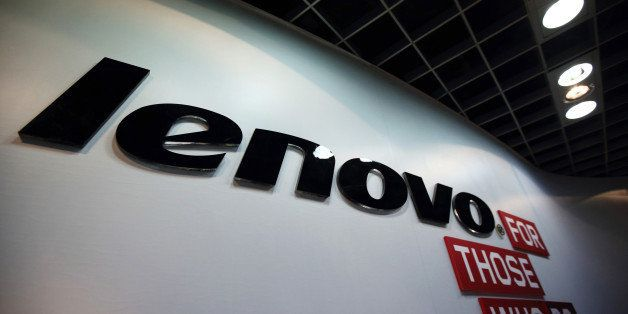 The Lenovo Group Ltd. logo is displayed in the company's headquarters in Beijing, China, on Tuesday, Nov. 11, 2014. Lenovo Ch