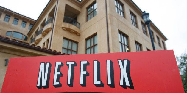FILE - This Jan. 29, 2010 file photo, shows the company logo and view of Netflix headquarters in Los Gatos, Calif. Netflix In