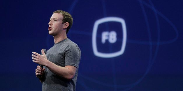 CEO Mark Zuckerberg gestures while delivering the keynote address at the Facebook F8 Developer Conference Wednesday, March 25