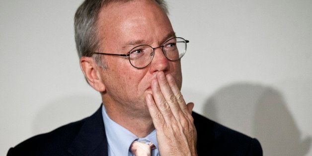 """Google Executive Chairman Eric Schmidt gestures during a meeting about the """"right to be forgotten"""" in Madrid, Sept. 9, 2014."""