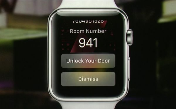 Using GPS your iPhone will let your Apple Watch know when you've arrived at a W Hotel. If you have a room booked it'll even p