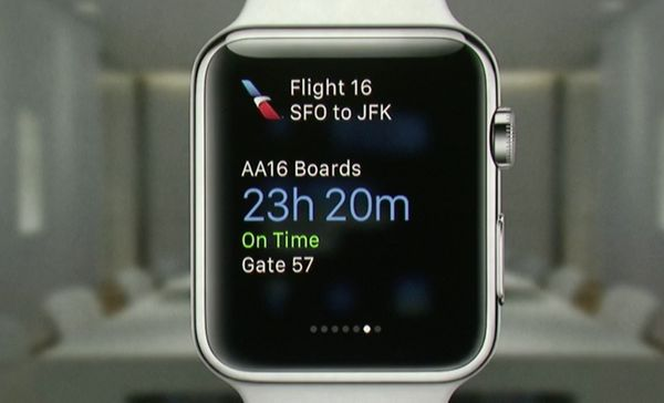 Using GPS, the Apple Watch knows when you're arriving at the airport. As soon as you arrive it'll bring up your boarding info