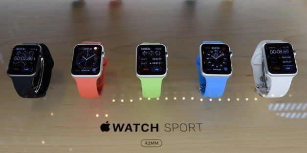 New Apple Watches on display at the Apple Grand Central Station store on April 24, 2015 in New York. The Apple Watch debuted
