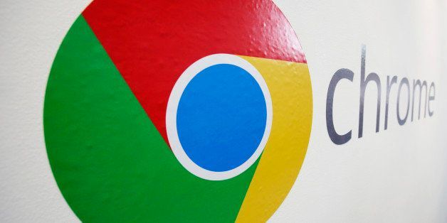 FILE - In this , Tuesday, Oct. 8, 2013, file photo, the Chrome logo is displayed at a Google event in New York. Google report