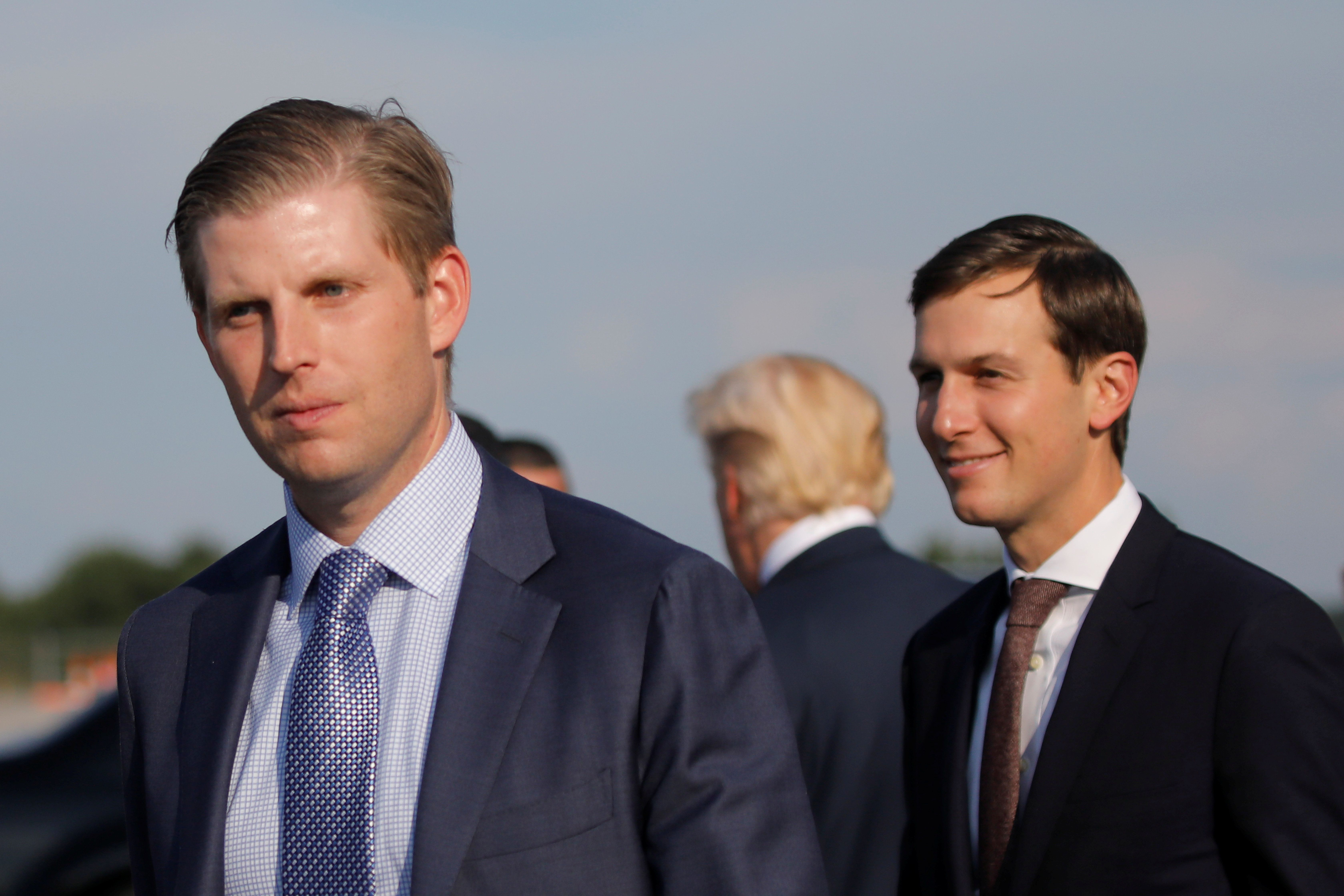 Eric Trump and Jared Kushner (R) arrive at Huntington tri-state airport as they accompany U.S. President Donald Trump for a rally in Huntington, West Virginia U.S., August 3, 2017. REUTERS/Carlos Barria