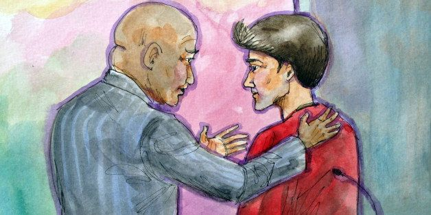 This artist rendering shows Ross William Ulbricht, right, appearing in Federal Court with his public defender Brandon LeBlanc