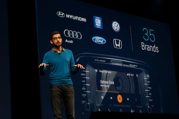 Sundar Pichai, senior vice president of Android, Chrome and Apps announces that there are 35 car brands participating in <a h