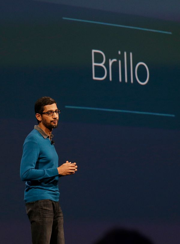 "Sundar Pichai, senior vice president of Android, Chrome and Apps, unveils <a href=""https://developers.google.com/brillo/"" tar"