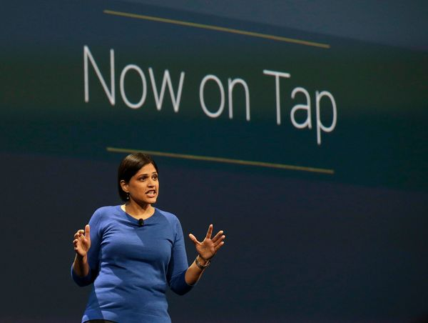 Aparna Chennapragada, director at Google Now announces Google Now on Tap, which suggests possible actions based on context. U