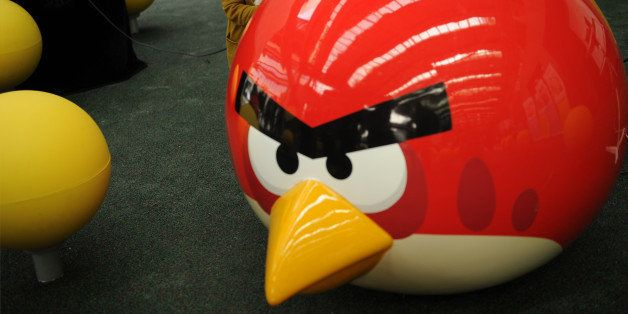 A young girl plays at Shanghai's first Angry Birds Activity Park at Tongji University in Shanghai on October 31, 2012.  The