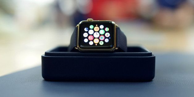 The Apple Watch Edition is on display for the release of the Apple Watch at the Eaton Centre Apple Store on Friday, April 10,
