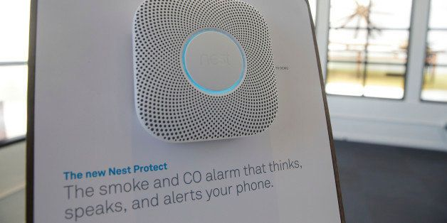 The new Nest Protect smoke and CO alarm is displayed following a news conference Wednesday, June 17, 2015, in San Francisco.