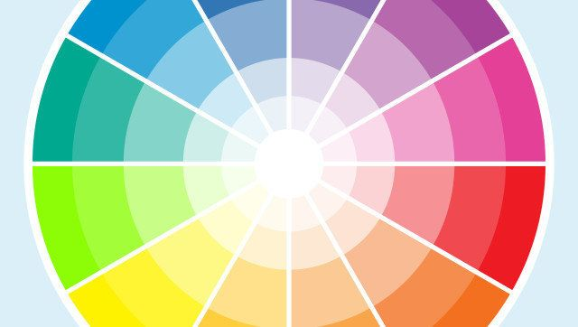 Classic color wheel with the colors moving into lighter shades