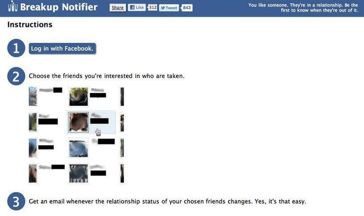 Facebook Breakup Notifier Tells You When Your Crush Is