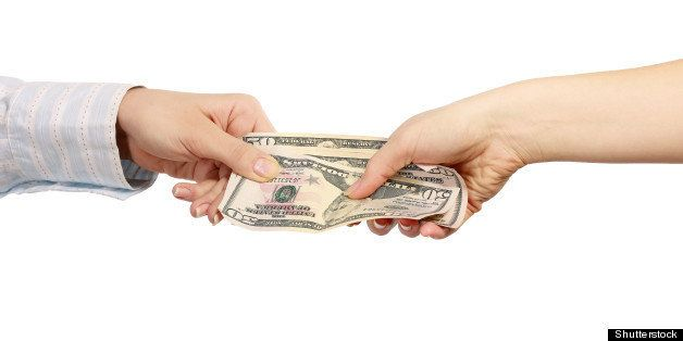 hand giving money  isolated on...