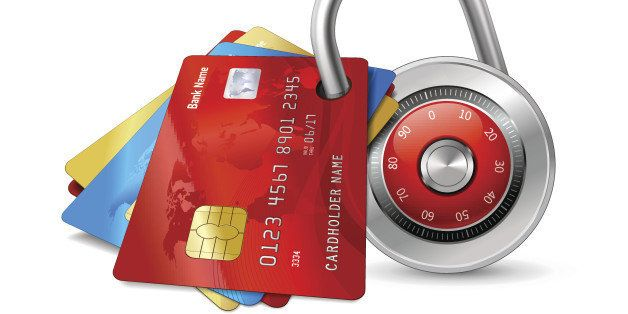 Set of secure credit cards with chips protected by encryption padlock isolated vector illustration