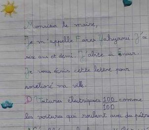 Cette lettre d'un enfant au maire de l'Ariana est en train de faire le tour du