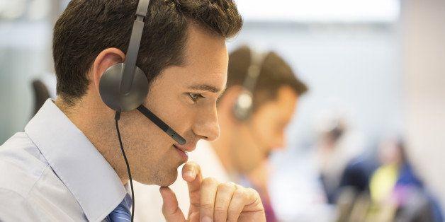 Male  business talk micro operator