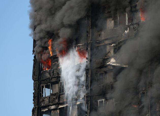 Smoke billowing from the fire which engulfed the 24-storey Grenfell