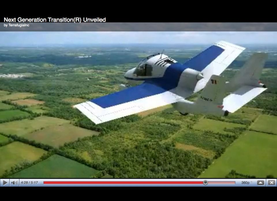 """Although the Transition has been dubbed a """"flying car,"""" it's really an airplane that can legally and safely be driven on road"""