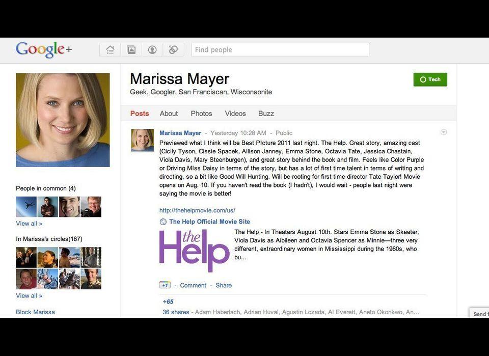 "Marissa Mayer is a senior executive at Google. She has been very active on Google+, <a href=""https://plus.google.com/photos/1"