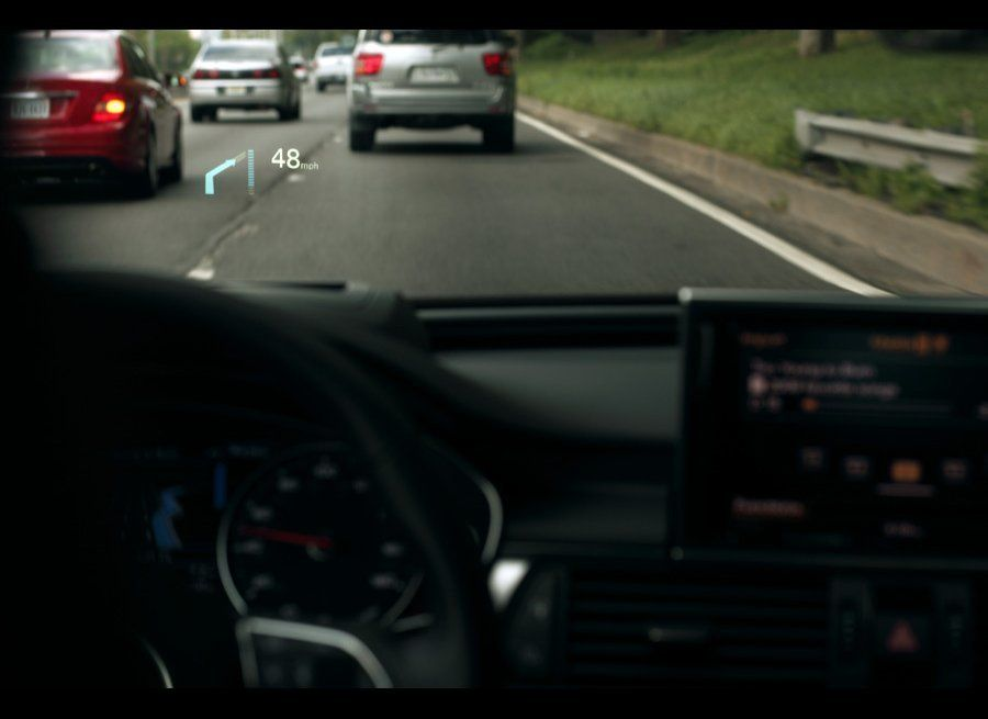 """A technology used by jet pilots and adapted for the A7, Audi has added a """"Head Up Display"""" to its new sedan. The adjustable d"""