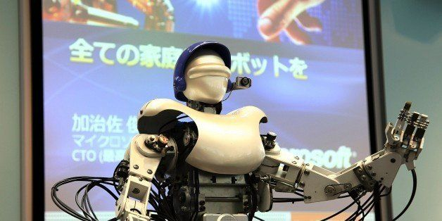 TOKYO - SEPTEMBER 07:  A TMSUK04 Robot, by one of Japan's leading robot developers tmsuk, leads a presentation at a press con