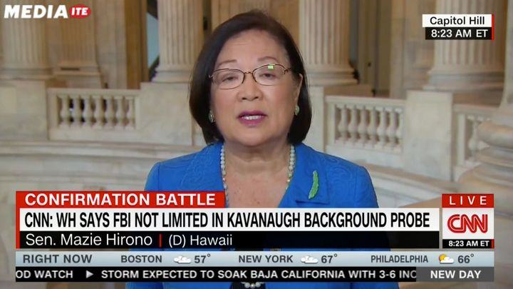 "Sen. Mazie Hirono said on CNN that men ""should make sure their sons particularly are raised in such a way that they res"