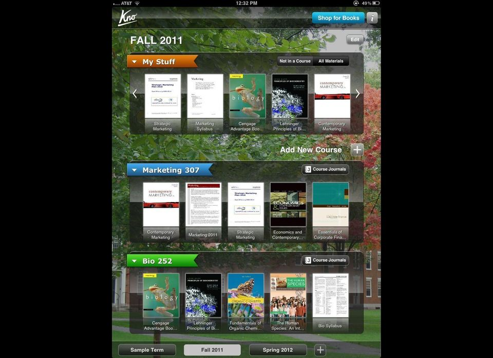 The front screen of the Kno iPad App is your course manager, where all of your textbooks can be dragged and organized into th