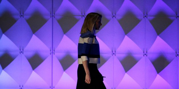 Yahoo CEO Marissa Mayer walks off the stage after delivering the keynote address Thursday, Feb. 18, 2016, at the Yahoo Mobile