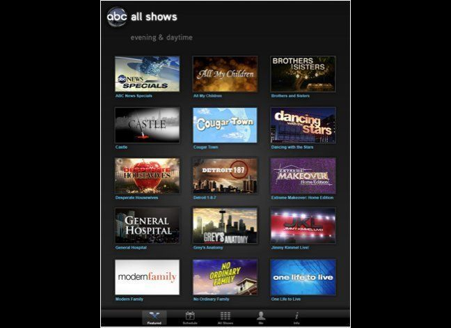 ABC wins the award for best iPad app among the television networks, mainly because it is the only one of the Big 4 networks t