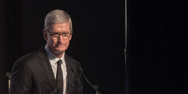 NEW YORK, NY - DECEMBER 08: Apple CEO Tim Cook speaks onstage at the Robert F. Kennedy human rights 2015 Ripple of Hope awards at New York Hilton Midtown on December 8, 2015 in New York City. (Photo by Noam Galai/WireImage)