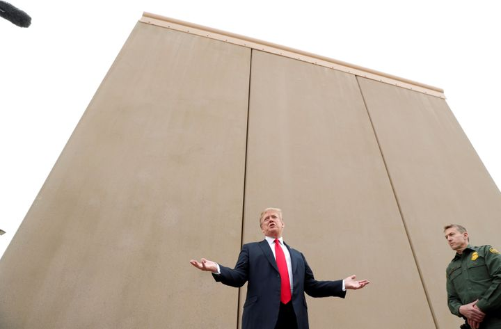 President Donald Trump speaks during a tour of U.S.-Mexico border wall prototypes near the Otay Mesa Port of Entry in San Die