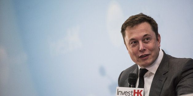 Billionaire Elon Musk, chief executive officer of Tesla Motors Inc., speaks during the StartmeupHK Venture Forum in Hong Kong