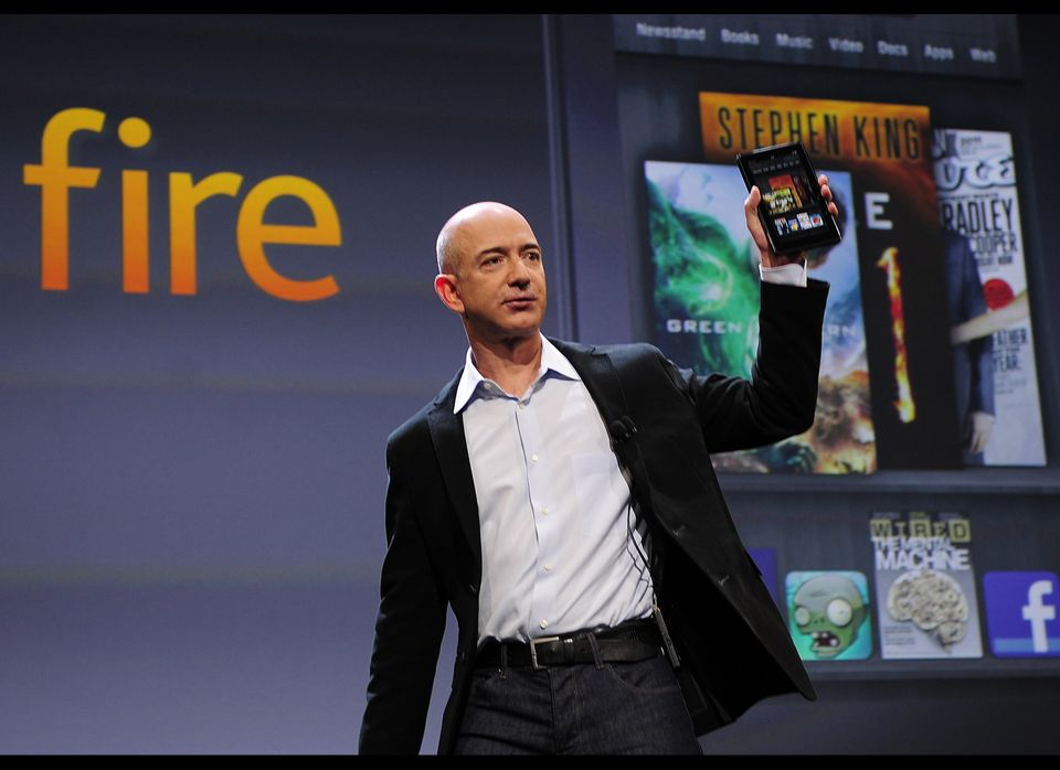 Amazon CEO Jeff Bezos introduces the new Kindle Fire tablet in New York, September 28, 2011. Bezos introduced a line of four