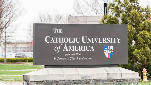 Washington DC, USA - April 1, 2018: Catholic University of America sign building in capital city, founded, in service to church and nation