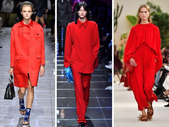 From left, Prada, Balenciaga, Valentino