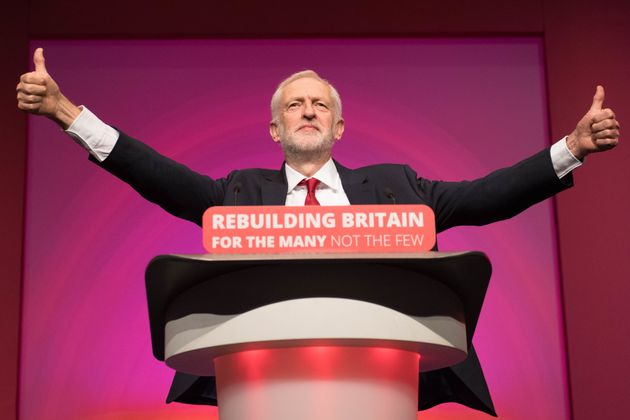 Labour leader Jeremy Corbyn giving his keynote speech at the party's annual conference at the Arena and...