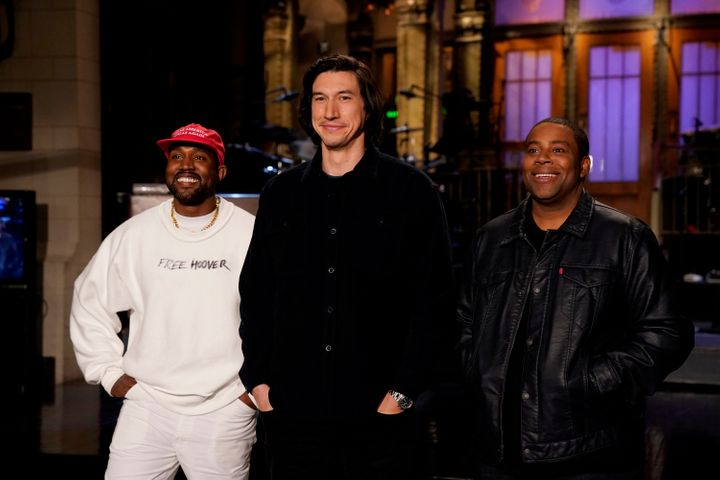 Kanye West, Adam Driver, Kenan Thompson in Studio 8H during a promo.