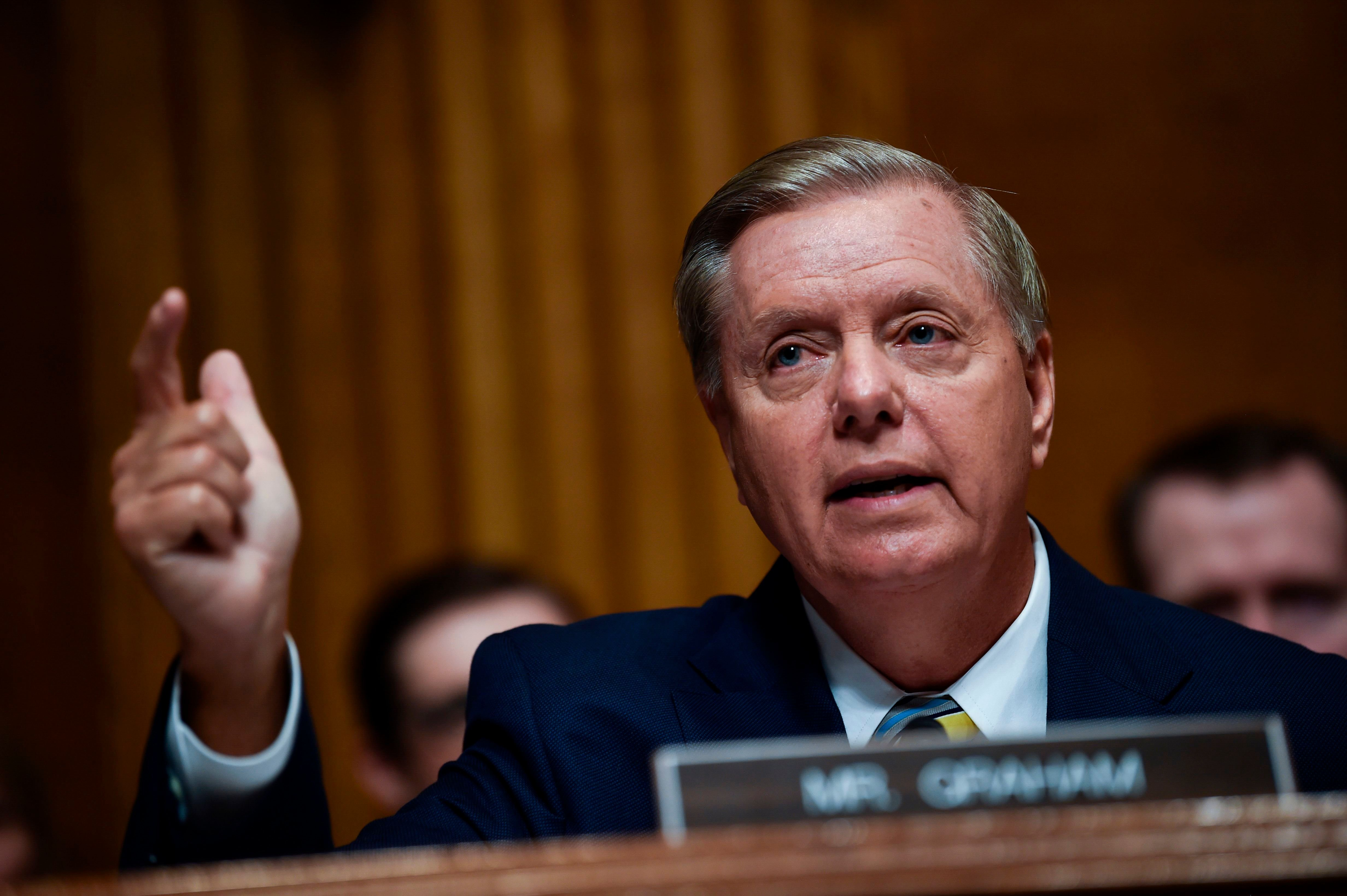 Senate Judiciary Committee member Senator Lindsey Graham (R-SC) speaks during a markup hearing on Capitol Hill in Washington, DC on September 28, 2018, on the nomination of Brett M. Kavanaugh to be an associate justice of the Supreme Court of the United States. - Kavanaugh's contentious Supreme Court nomination will be put to an initial vote Friday, the day after a dramatic Senate hearing saw the judge furiously fight back against sexual assault allegations recounted in harrowing detail by his accuser. (Photo by Brendan SMIALOWSKI / AFP)        (Photo credit should read BRENDAN SMIALOWSKI/AFP/Getty Images)