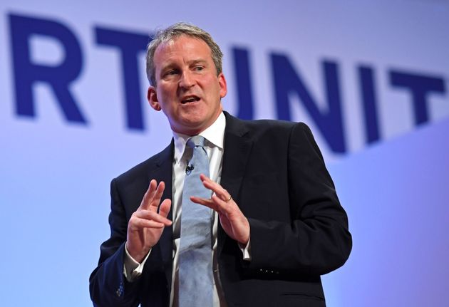 Education Secretary Damian Hinds on stage at the Conservative Party annual conference at the International...