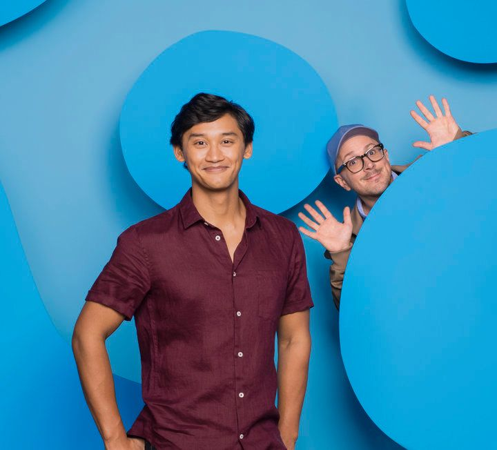 "The new host of ""Blue's Clues,"" Joshua Dela Cruz, along with the original host, Steve Burns."